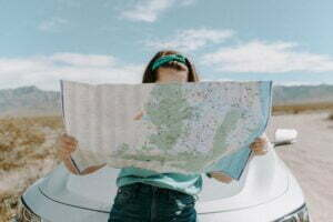 woman looking at a map